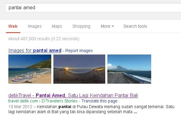 Entry tentang pantai Amed di Google