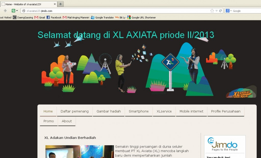 Website XL Axiata (katanya)