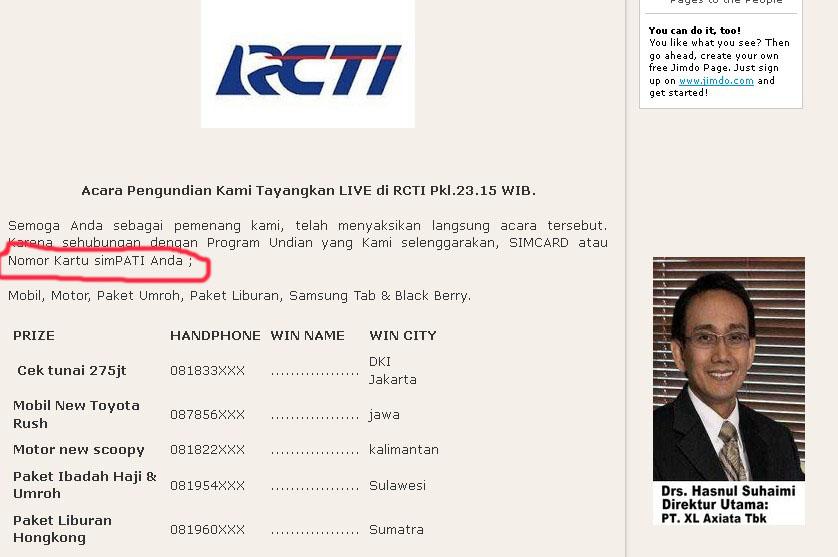 Pengumuman di RCTI. Tapi koq pemenangnya kartu Simpati?