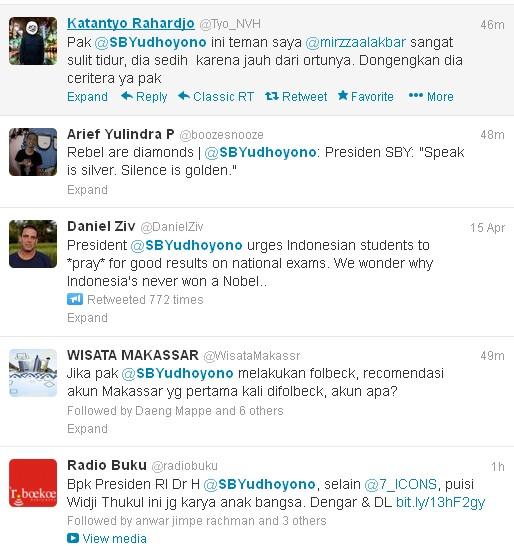 Sebagian kecil mention kepada SBY