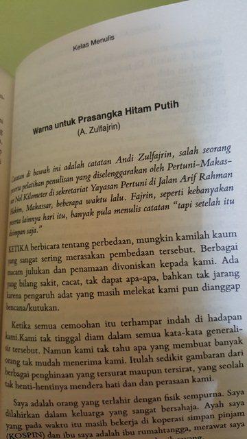 Tulisan Fajrin di buku Makassar Nol Kilometer